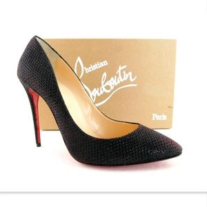 New CHRISTIAN LOUBOUTIN Black Red Heels Pumps 39.5